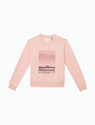 Calvin Klein CKJ Logo Barn Print Crewneck Pullover Sweatshirt