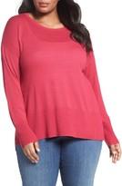 Sejour Plus Size Women's Cotton Blend Scoop Neck Sweater
