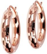 "Bronzo Italia 1"" Round Diamond Cut Hoop Earrings"