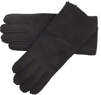 Lambland Ladies Long Fold Over Genuine Sheepskin Gloves in Black Size Medium