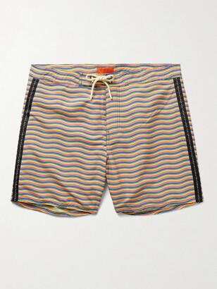 Saturdays NYC Mid-Length Logo-Appliqued Striped Swim Shorts
