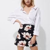 River Island Womens Petite black floral mini skirt