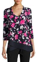 Ellen Tracy Floral Asymetrical Top