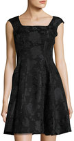 Donna Ricco Square-Neck Brocade Dress, Black Pattern