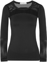 adidas by Stella McCartney Mesh-paneled Climalite Stretch Top - Black