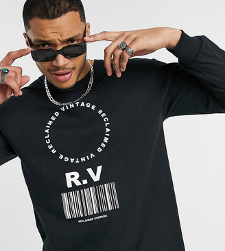 Reclaimed Vintage long sleeve t-shirt with barcode print in black