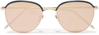 Linda Farrow Aviator-style Rose Gold-tone, Titanium And Leather Sunglasses