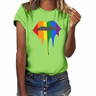Lazzboy Women T-Shirt Tops Colourful Lip Stars Print O-Neck Short Sleeve D Day Plus Size Ladies Top Blouse(3XL(18)