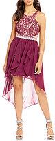 Jodi Kristopher Glitter Lace-Bodice High-Low Hem Sheath Dress