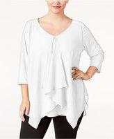 NY Collection Plus Size Draped Handkerchief-Hem Top