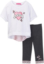 Betsey Johnson Rose Burnout Heart Top & Lace Trim Legging Set (Toddler Girls)