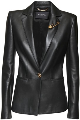 Versace Leather One Breast Blazer Jacket