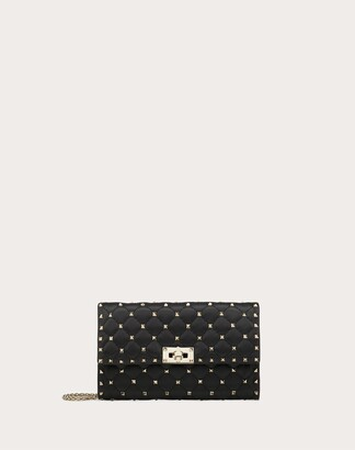 Valentino Garavani Rockstud Spike Nappa Leather Crossbody Clutch Bag Women Black Lambskin 100% OneSize