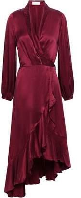 Zimmermann Ruffled Washed-silk Midi Wrap Dress