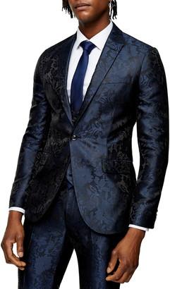 Topman Paris Skinny Fit Jacquard Suit Jacket