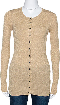 Dolce & Gabbana Gold Lurex Rib Knit Long Sleeve Fitted Cardigan S