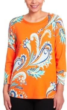 Joseph A Paisley-Print Keyhole Sweater