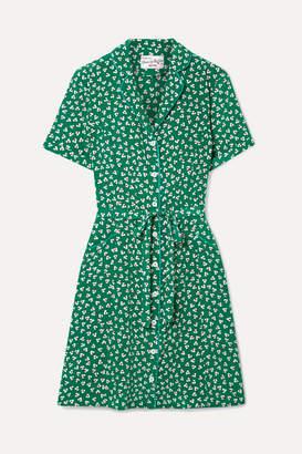 HVN Maria Printed Silk Crepe De Chine Mini Dress - Green
