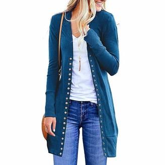 Lazzboy Women Cardigan Coat Solid Casual Slim Fit Buttons Basic Newchic Fashion Long Jacket Parka Outwear (XL(14)