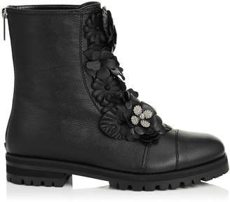 Jimmy Choo HAVANA FLAT Black Soft Textured Leather with Floral Applique Combat Boots