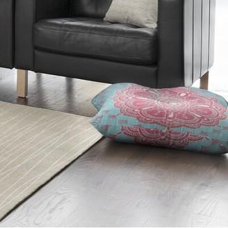 "KAVKA DESIGNS Boho Bloom Floor Pillow Size: 30"" H x 30"" W, Color: Pink/ Blue"