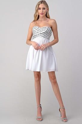Minuet Womens Short Chiffon Dress with Sequin Bodice