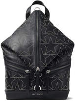 Jimmy Choo FITZROY/M Black Leather Backpack with Silver Star Embellishments