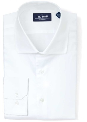 Tie Bar Pinpoint Solid White Non-Iron Dress Shirt