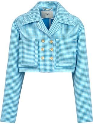 Fendi micro Vichy pattern cropped jacket