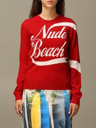 N°21 N 21 Sweater N ° 21 Virgin Wool Sweater With Nude Beach Jacquard Writing