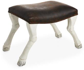 Noir Claw-Leg Saddle Stool frame, weathered white; upholstery, rustic java; nailheads, pewter