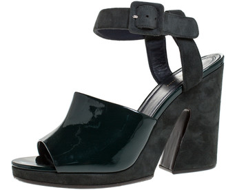 Celine Green Patent Leather And Suede Ankle Strap Open Toe Platform Sandals Size 37.5