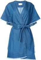 Co-Mun - ruffled shortsleeves denim coat - women - Cotton - 36