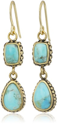 Barse Bronze and Turquoise Multi-Shape Drop Earrings