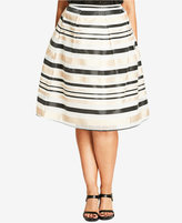 City Chic Trendy Plus Size Metallic A-Line Skirt