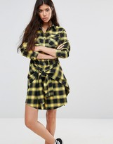 Boohoo Tie Waist Checked Shirt Dress