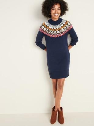 Old Navy Mock-Neck Fair Isle Sweater Dress for Women