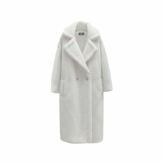 NKJGFV Pink Long Teddy Bear Coat Women Winter Warm Faux Fur Jacket