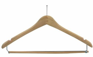 International Hanger Wooden Curved Suit Hanger w/Locking Bar with Anti-Theft P-Nail Hook, Natural Finish with Chrome Hardware, Box of 50