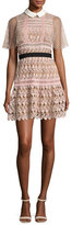 Self-Portrait Floral-Lace Vine Cape Mini Dress, Blush