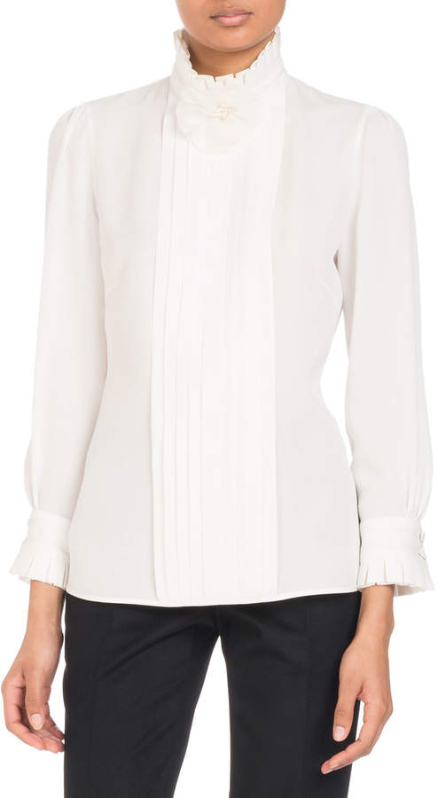 Andrew Gn Stand-Collar Long-Sleeve Pleated Silk Blouse with Flower Detail