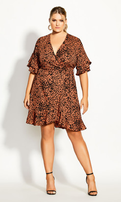City Chic Leopard Flutter Dress - tawny