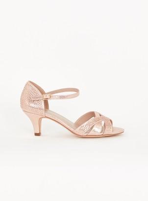 Evans EXTRA WIDE FIT Pink Embellished Diamante Kitten Heels