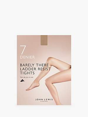 John Lewis & Partners 7 Denier Barely There Ladder Resist Non-Slip Tights, Pack of 1