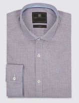Marks and Spencer Cotton Rich Easy to Iron Tailored Fit Dobby Diamond Shirt