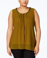 Alfani Plus Size Chain-Trim Shell, Created for Macy's