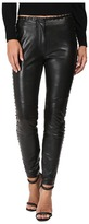 Just Cavalli Leather Leggings with Stitch Detail Women's Casual Pants