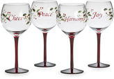 Pfaltzgraff Winterberry Set of 4 Sentiments Wine Glasses