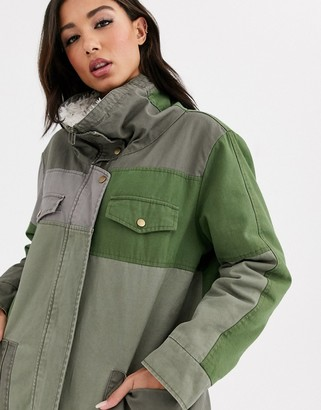 One Teaspoon oversized contrast khaki coat with faux sherling