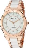 Anne Klein Women's AK/2902WTRG Diamond-Accented Rose Gold-Tone and White Ceramic Bracelet Watch